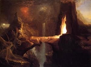 Thomas Cole - Expulsion - Moon and Firelight