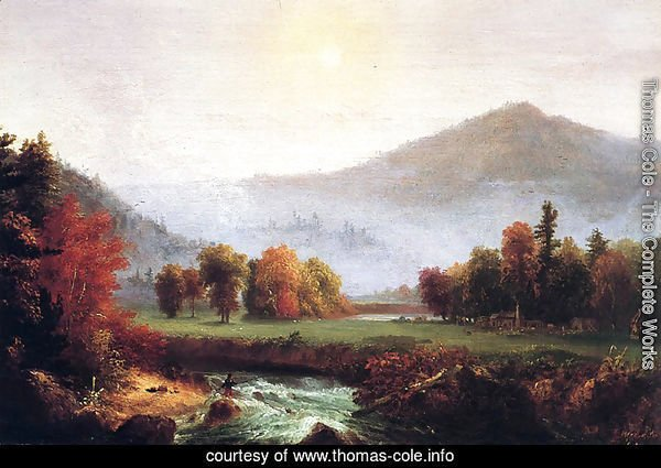 Morning Mist Rising, Plymouth, New Hampshire (A View in the United States of America in Autumn)