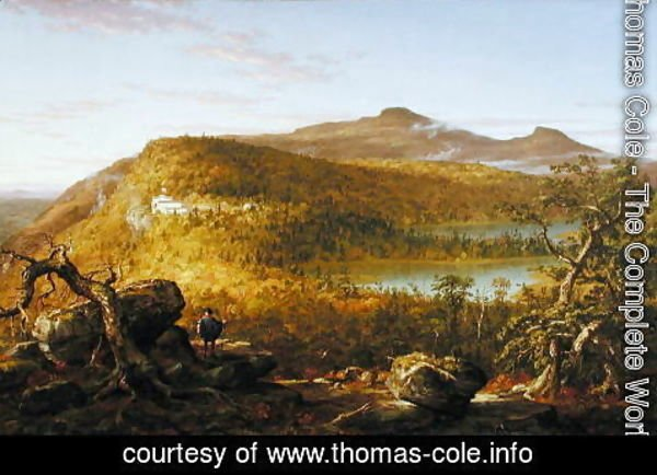 Thomas Cole - A View of the Two Lakes and Mountain House, Catskill Mountains  1844