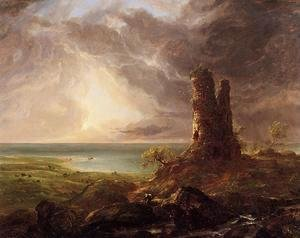 Thomas Cole - Romantic Landscape with Ruined Tower