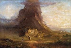 Thomas Cole - The Cross and the World: Study for 'Two Youths Enter Upon a Pilgrimage - One to Cross the Other to the World