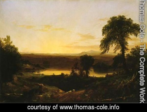 Thomas Cole - Summer Twilight: A Recollection of a Scene in New England