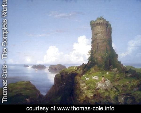 Thomas Cole - Italian Coast Scene with Ruined Tower
